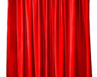 Bright Red Velvet 144 Inch High Curtain Long Panels Extra Large Drape Professional Photography Studio Backdrop Background Display Drapery