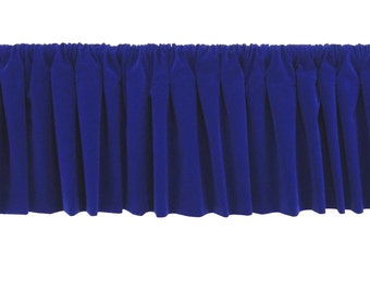 Quality 1pc Custom Wide Modern Home Decor Houseware Royal Blue Rod Pocket Curtain Topper Flocked Velvet Window Treatment Valance Panel Drape