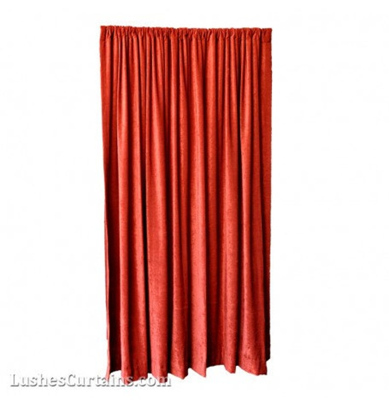 1b8ea60b14f7 Luxury Red Velvet Curtain 120 inch High Long Panel FR NFPA 701