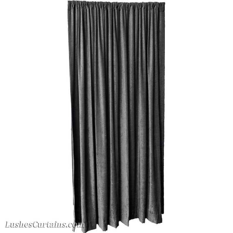 0c7b8fcac99a Charcoal Gray Velvet Curtain 120H Long Panel FR NFPA 701