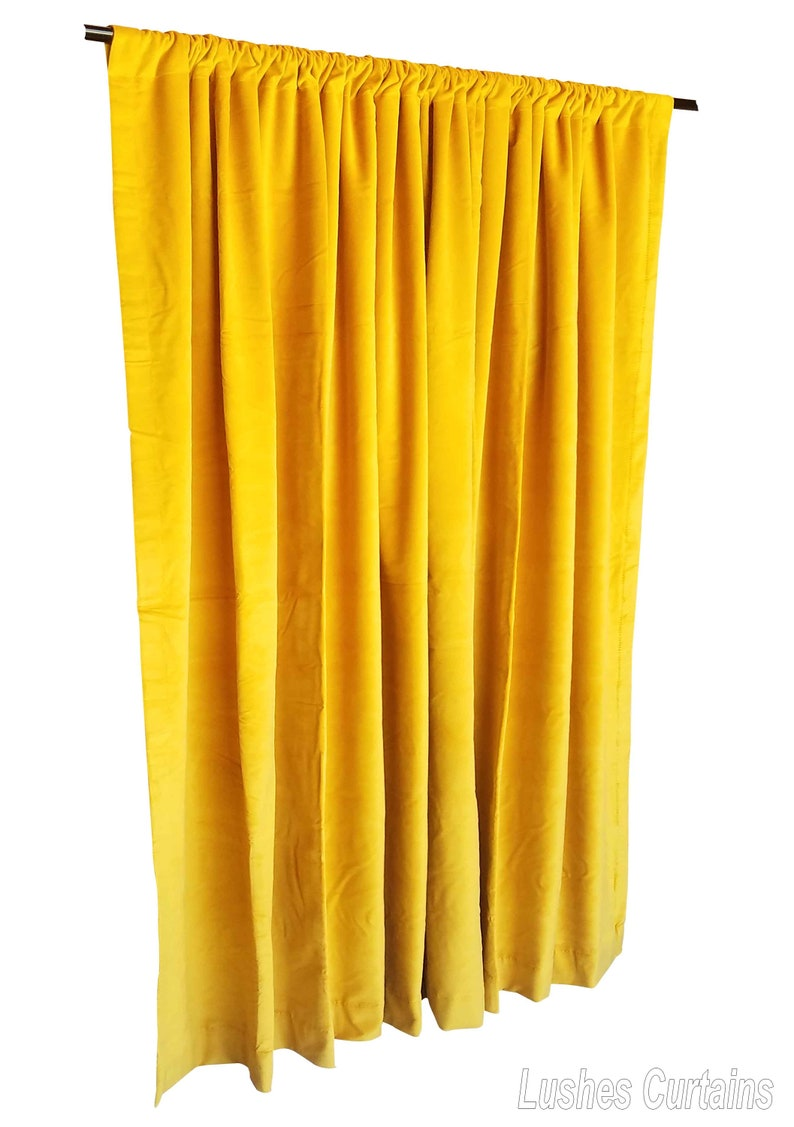 Luxury Quality Heavy Thick Yellow Custom Made Energy Saving Sound Dampening Thermal Drape Cotton Velvet Curtain 120 Inch H Drop Long Panel