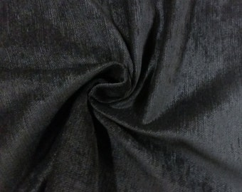 Elegant Black Poly Flame Resistant Velvet Fabric for Upholstery Heavy Weight 19 oz Curtain Drapery FR Material Sold by The Yard 54 inch Wide