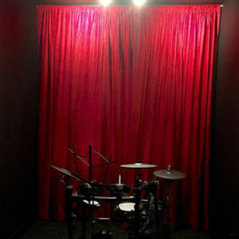 New Elegant High Quality Heavy Red Custom Made Home Theater Noise Reducing Energy Saving Thermal Cotton Velvet Curtain Panel 108 Inch Long