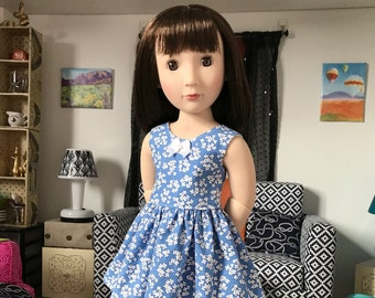 """16 inch , 16"""" doll clothing - blue with white flowers sundress ,fits slim 16 inch dolls."""