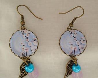 Sakura cherry blossom cabochons earrings