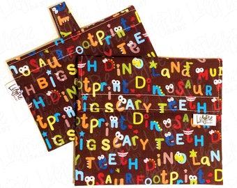 "Reusable Sandwich Bag & Reusable Snack Bag in ""Dinosaur Alphabet"" cotton print - Back to School"