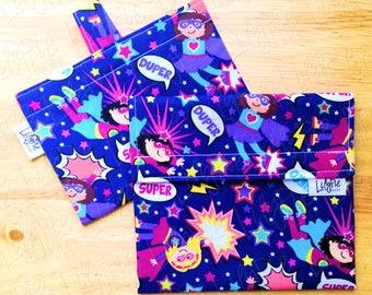 "Reusable Sandwich Bag & Reusable Snack Bag in ""Super Duper"" cotton print - Back to School"
