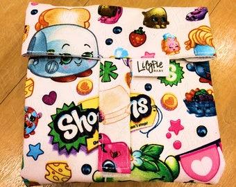 Reusable Sandwich Wrap & Placemat (w/Optional Reusable Snack Bag) - Shopkins print - ECOfriendly - Food Safe - Dishwasher Safe