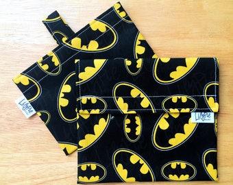 "Reusable Sandwich Bag & Reusable Snack Bag in ""Batman"" cotton print - Back to School"