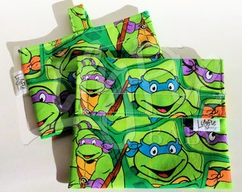 "Reusable Sandwich Bag & Reusable Snack Bag in ""Ninja Turtles"" cotton print - Back to School"