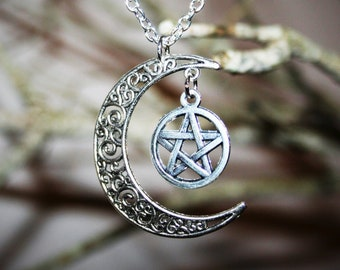 Wiccan jewelry Moon Pentacle Necklace  - Occult Jewelry Silver Pagan New Age Pentagram Witch Jewelry unisex women men witchcraft spells