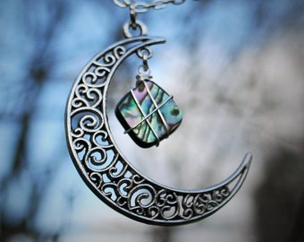 Abalone Moon Necklace for Self-Growth