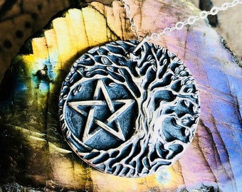 Sterling Silver Tree of Life Pentacle Necklace