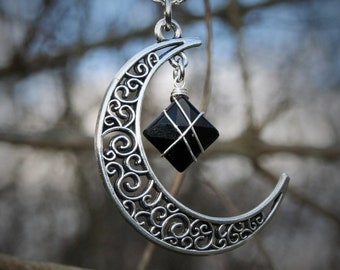 Onyx Moon Necklace to Alleviate Tension and Worry