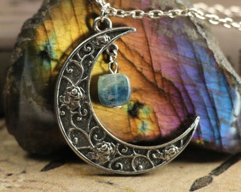 Blue Kyanite Crescent Moon Necklace for Psychic Communication