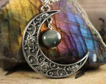 Obsidian Crescent Moon Necklace to Remove Negativity