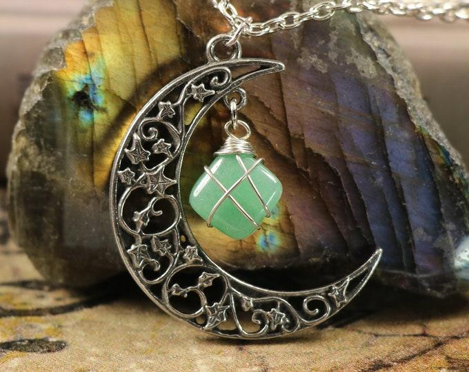 Aventurine Crescent Moon Necklace for Motivation