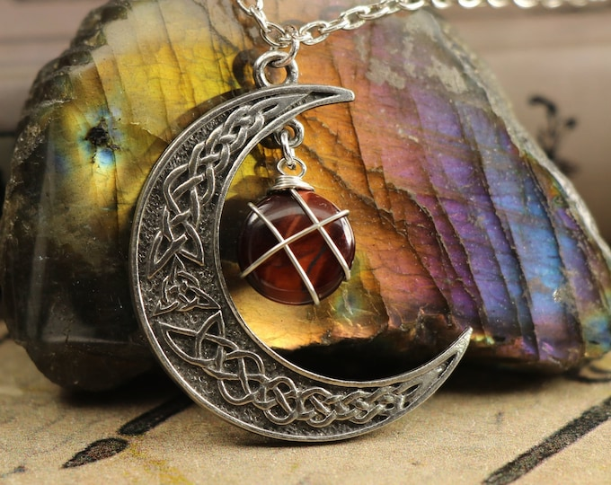 Red Tigers Eye Crescent Moon Necklace for Prosperity
