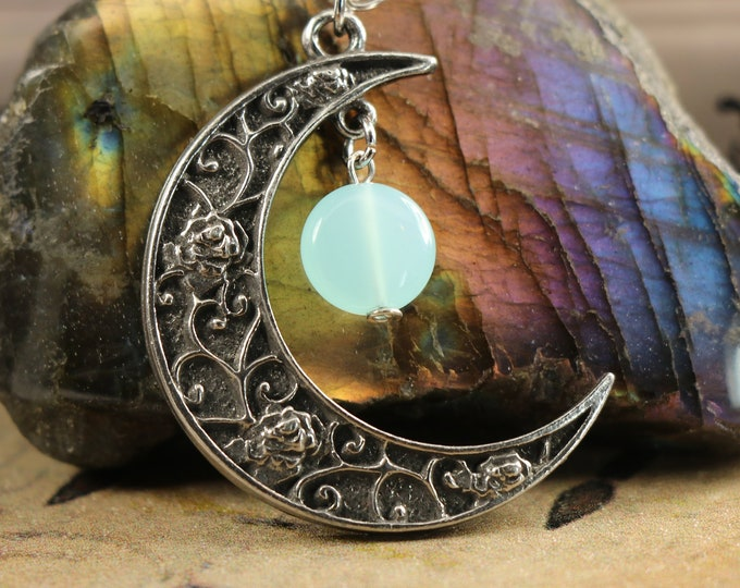 Blue Chalcedony Crescent Moon Necklace for Meditation