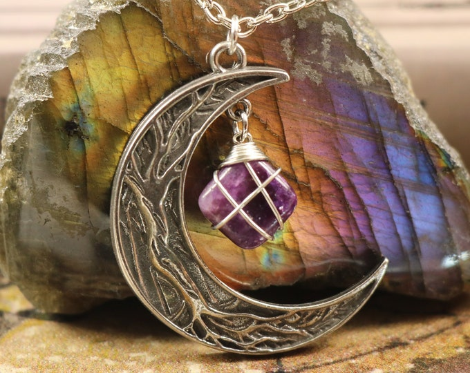 Lepidolite Crescent Moon Necklace for Grief and Mourning