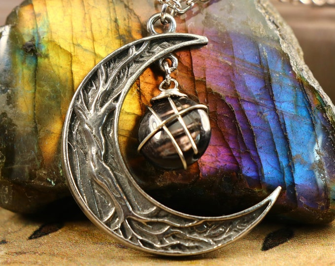 Hyperstene Crescent Moon Necklace for Clear Thinking