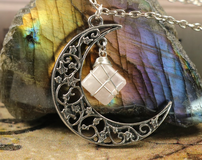 Rose Quartz Crescent Moon Necklace for Clearing Negative Emotions