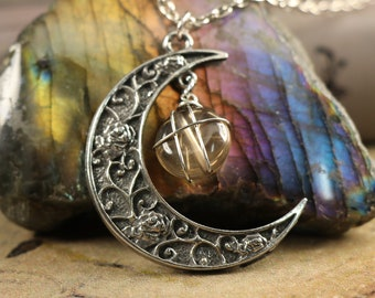 Smoky Quartz Crescent Moon Necklace for Grounding