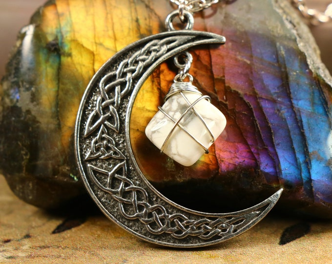 Howlite Crescent Moon Necklace to Calm the Overactive Mind