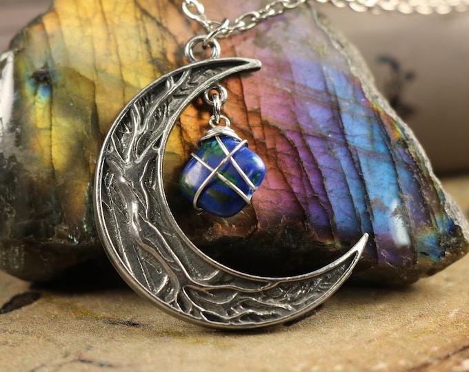 Azurite Malachite Crescent Moon Necklace for Inner Wisdom