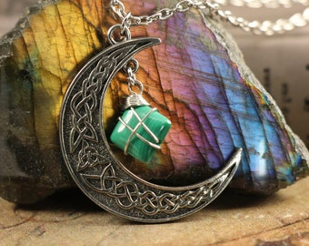 Malachite Crescent Moon Necklace to Balance Mood