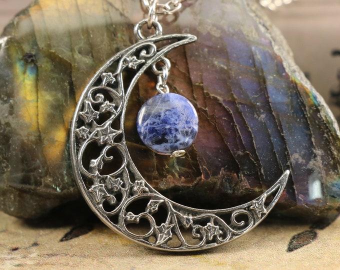Sodalite Crescent Moon Neckace for Self Esteem