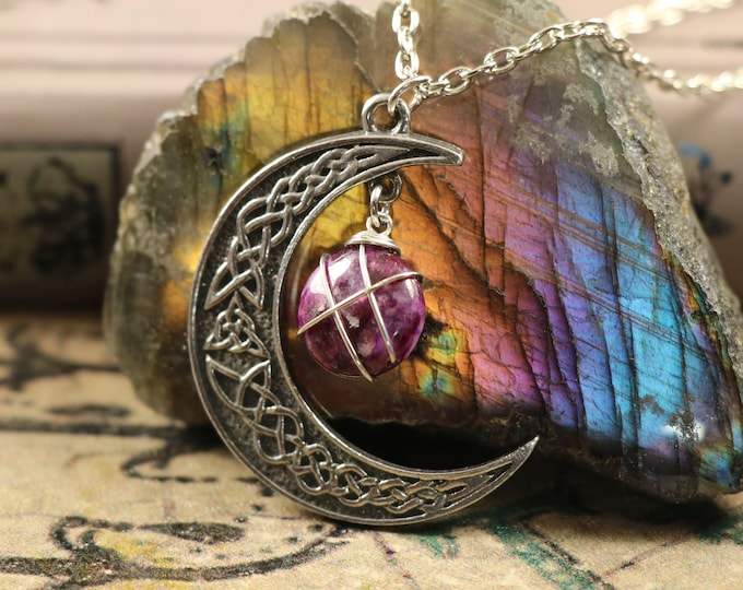 Lepidolite Crescent Moon Necklace for Tranquility