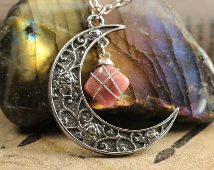 Rhodonite Crescent Moon Necklace to Soothe Heartache