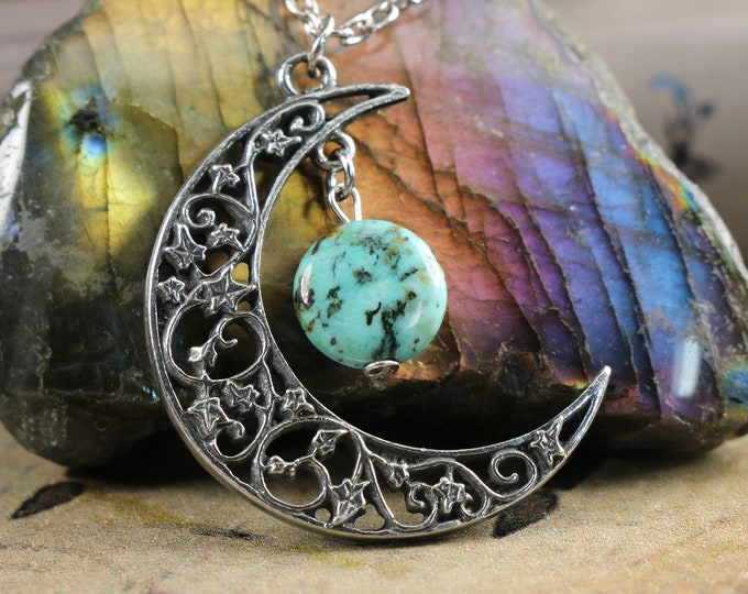 Chrysocolla Crescent Moon Necklace for Empowerment