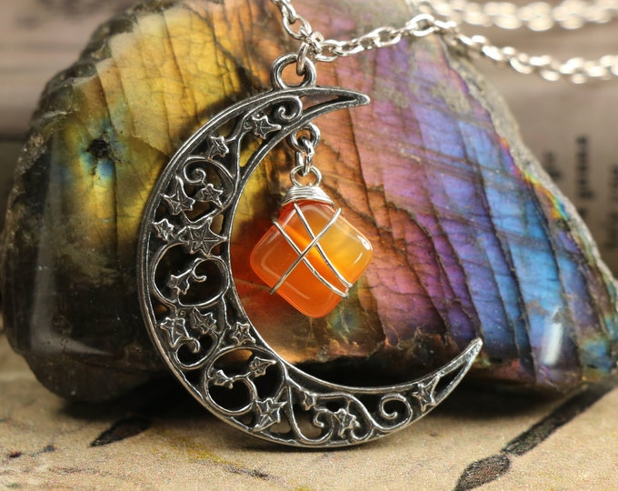Carnelian Crescent Moon Necklace for Passion