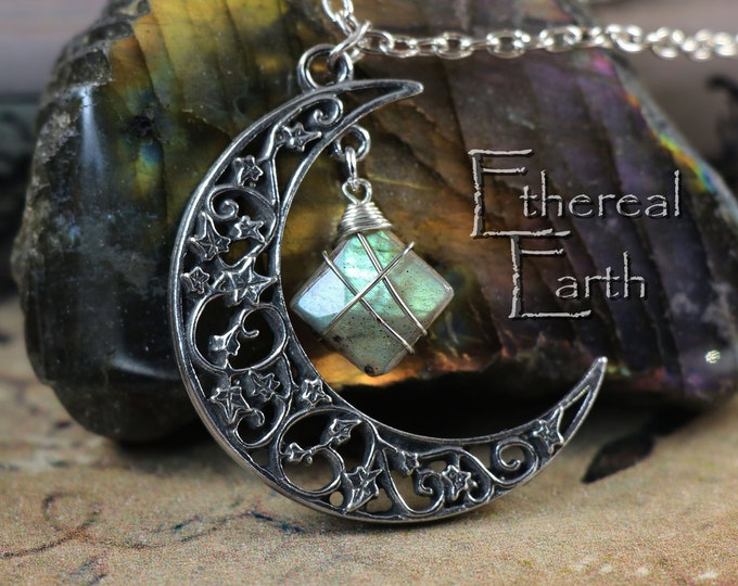 Labradorite Crescent Moon Necklace to Banish Insecurity