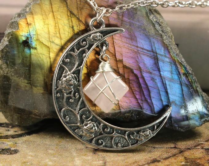 Rose Quartz Crescent Moon Necklace for Love