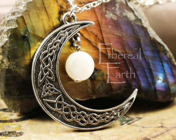 Pearl Crescent Moon Necklace for Protection