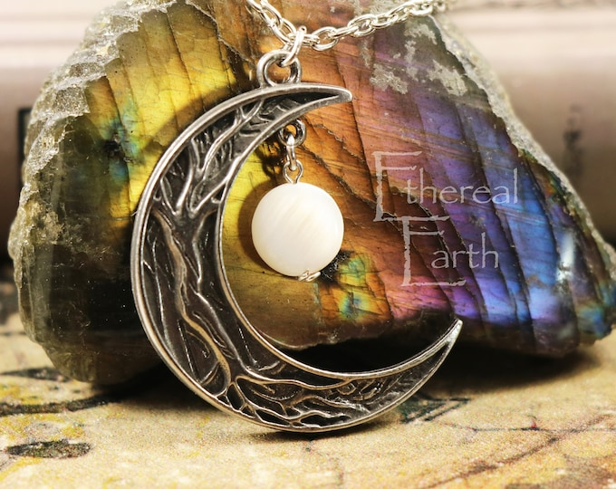 Mother of Pearl Crescent Moon Necklace to Balance Emotions