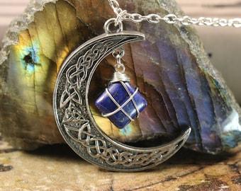 Lapis Lazuli Crescent Moon Necklace for Spiritual Awakening
