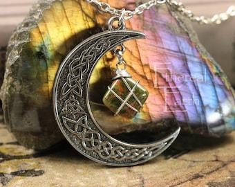 Unakite Crescent Moon Necklace Third Eye