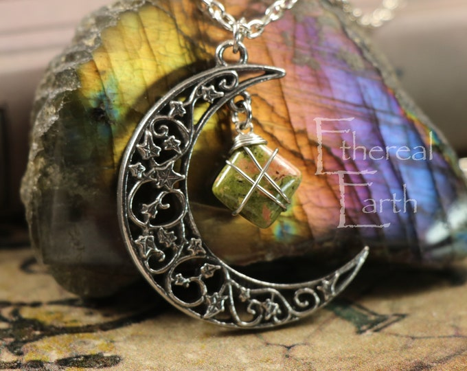 Unakite Crescent Moon Necklace for Self-Love