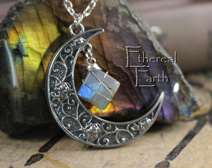 Labradorite Crescent Moon Necklace for Transformation