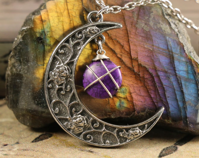 Purple Turquoise Crescent Moon Necklace for Communication