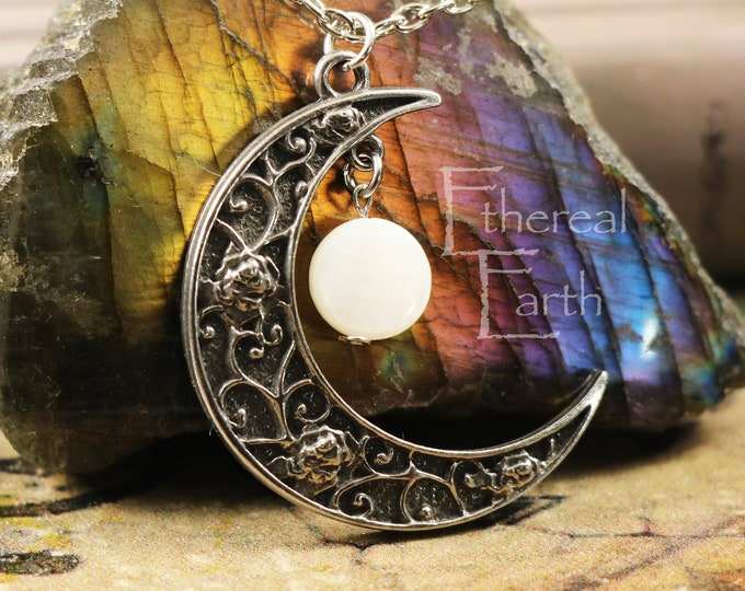 Mother of Pearl Crescent Moon Necklace for Relieving Stress