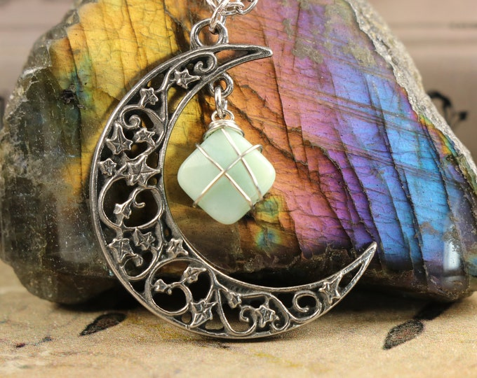 Amazonite Crescent Moon Necklace for Courage
