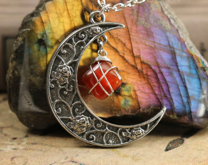Carnelian Crescent Moon Necklace for Artists
