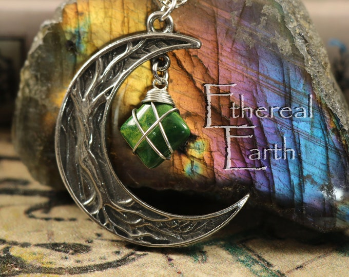 African Jade Crescent Moon Necklace for Creativity