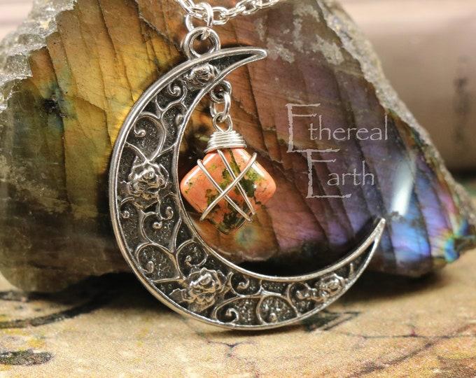 Unakite Crescent Moon Necklace to Help Achieve Desires