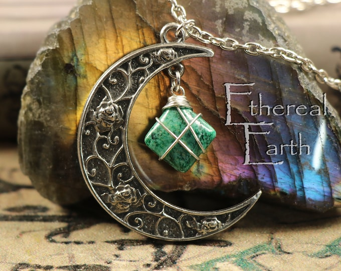 African Jade Crescent Moon Necklace for Heart Chakra